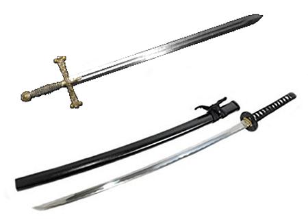 samurai sword and knight sowrd