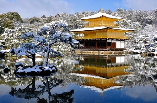 Snowing Kyoto in Winter