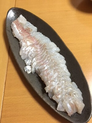 sashimi of sea bass