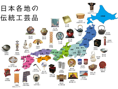 traditional crafts map in Japan