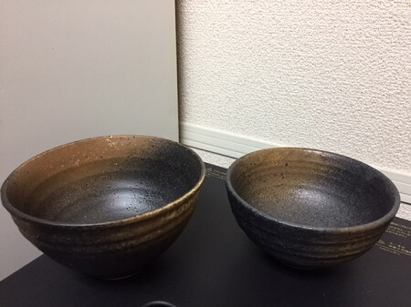 japanese bizen pottery, rice bowls