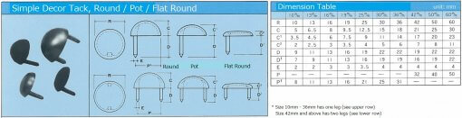 Simple Decor Tack, item code and dimension table