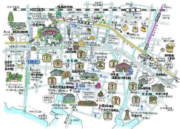 Map of Japanese Sake Street in Nishinomiya