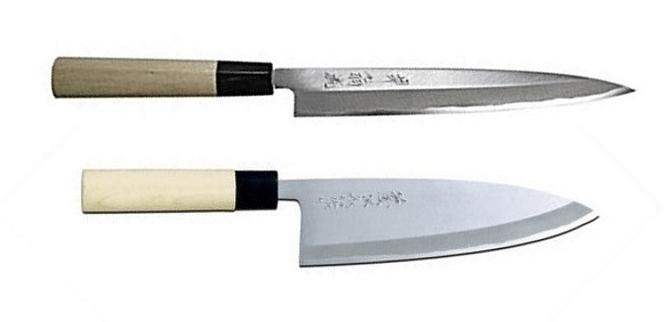 deba and yanagiba knives