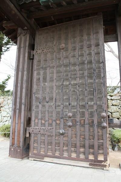 detail of main entrance gate of Himeji Castle and Ninja Hardware