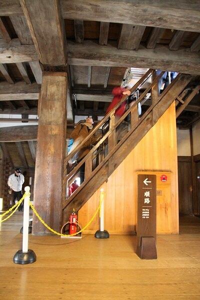 steep stairs inside Himeji Castle