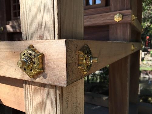 Japanese style decorative tacks and nails on pillars
