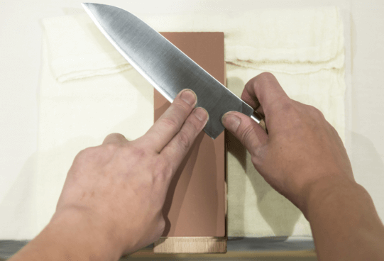 start sharpening from knife heel