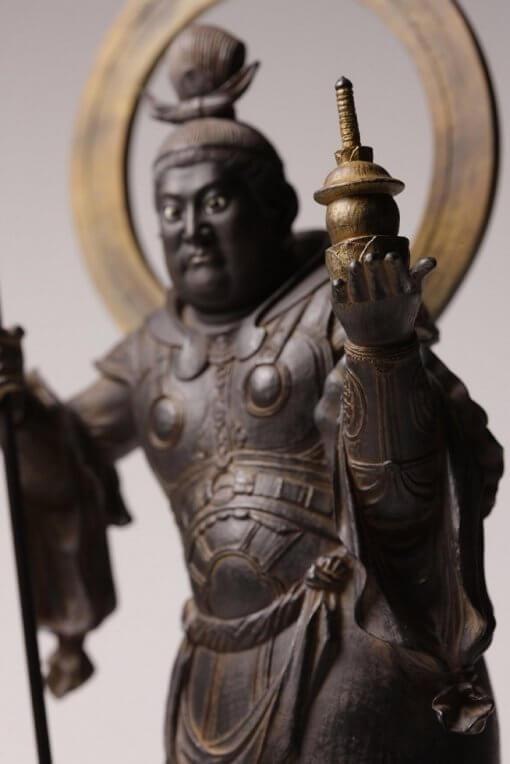 Buddha Statue for sale, Bishamonten, zooming up to accessory