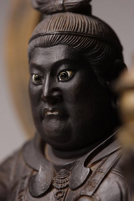 Buddha Statue for sale, Bishamonten, zooming up to face; eyes are specially painted