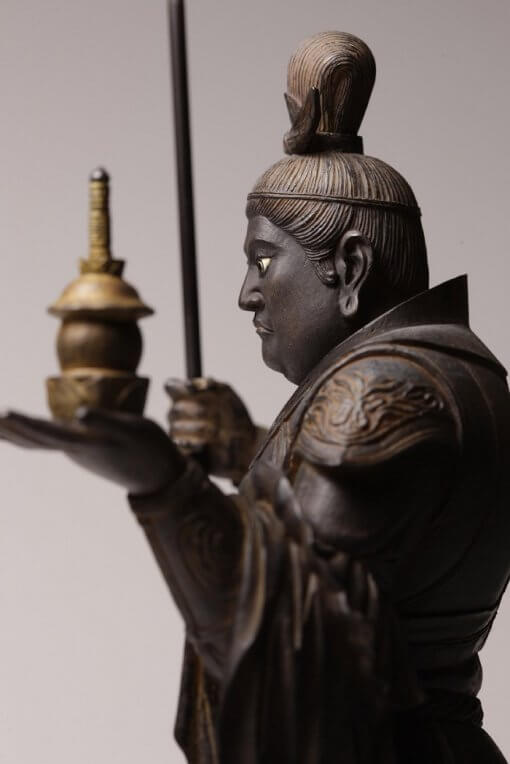Buddha Statue for sale, Bishamonten, side view and details