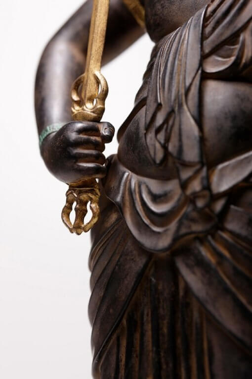 Buddha Statue for sale, Acala / Fudo Myo-oh, zooming up to right hand holding a vijra sword
