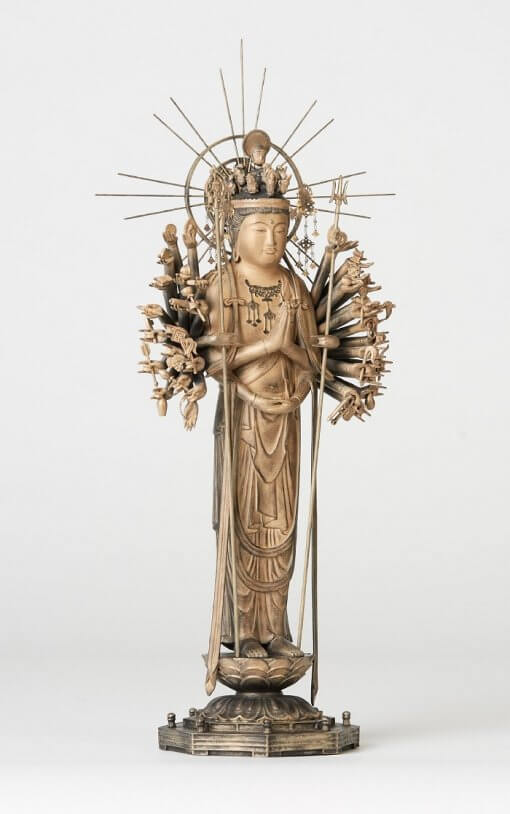 Buddha Statue for sale, 1000-armed Kannon left front view