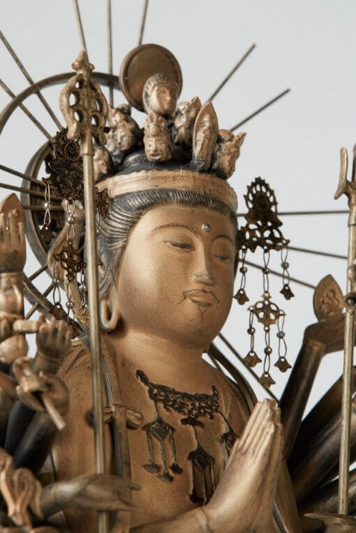 Buddha Statue for sale, 1000-armed Kannon, face details