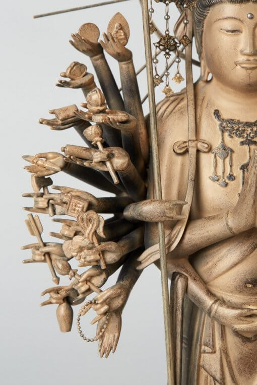 Buddha Statue for sale, 1000-armed Kannon, zooming up of 1000-right arms