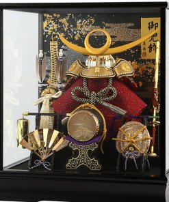 samurai helmet for sale, Kenshin Uesugi - Suiwn gold model, in case view