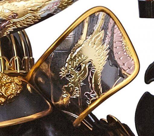 samurai helmet for sale, Masamune Date - Shoryu model, zooming up to dragon on Fukikaeshi