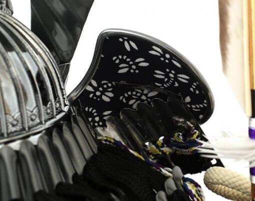 Samurai helmet for sale, Kobu model, backside of crest