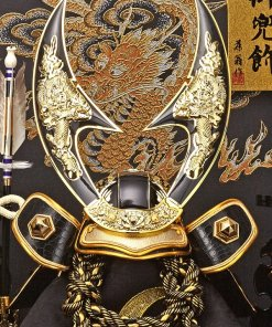 samurai helmet for sale, falcon gold model, detailed front view