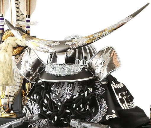 samurai helmet for sale, Masamune Date - Hokuto model, right front view with accessories