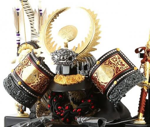 samurai helmet for sale, Ieyasu Tokugawa - Sekiryu model, right front view and accessories