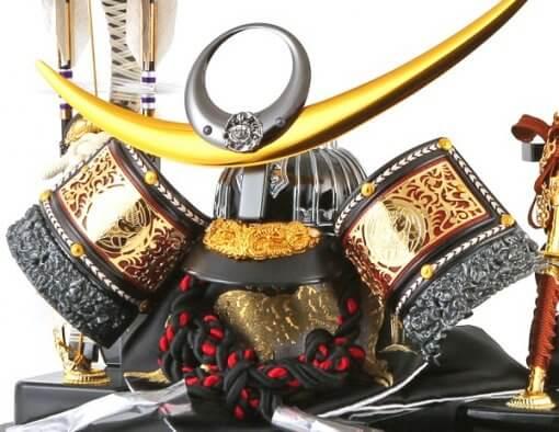 samurai helmet for sale, Kenshin Uesugi - Tenzan model, details of crest and accessories