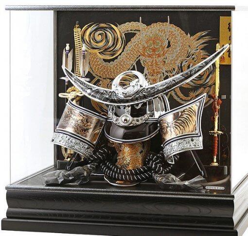 Samurai helmet for sale, Kenshin Uesugi - Kurama model, in case view