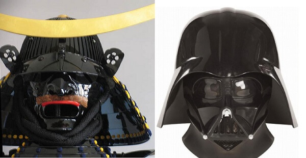 comparison of Masamune Date's samurai helmet and mask of Darth Vador