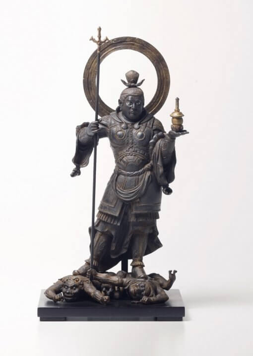 Buddha Statue for sale, palm-sized Bishamonten, front view
