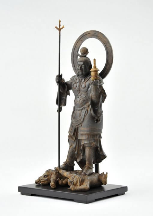 Buddha Statue for sale, palm-sized Bishamonten, left front view