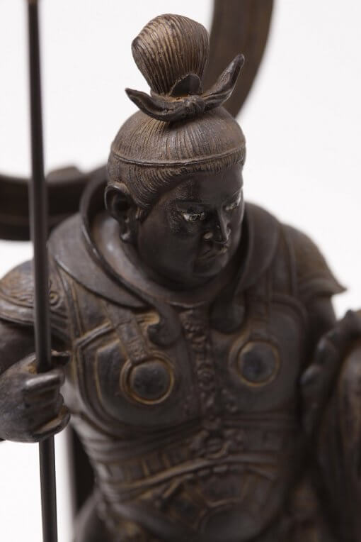 Buddha Statue for sale, palm-sized Bishamonten, top view zooming up to face