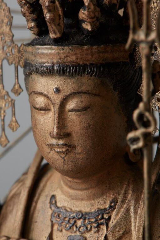 Buddha Statue for sale, palm-sized 1000-armed Kannon, facial expression view