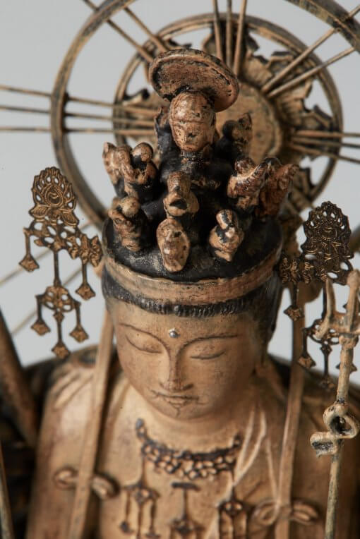 Buddha Statue for sale, palm-sized 1000-armed Kannon, top view of face and head