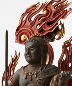 Buddha Statue for sale, Acala / Fudo Myo-oh palm-sized, details of face and back side fire