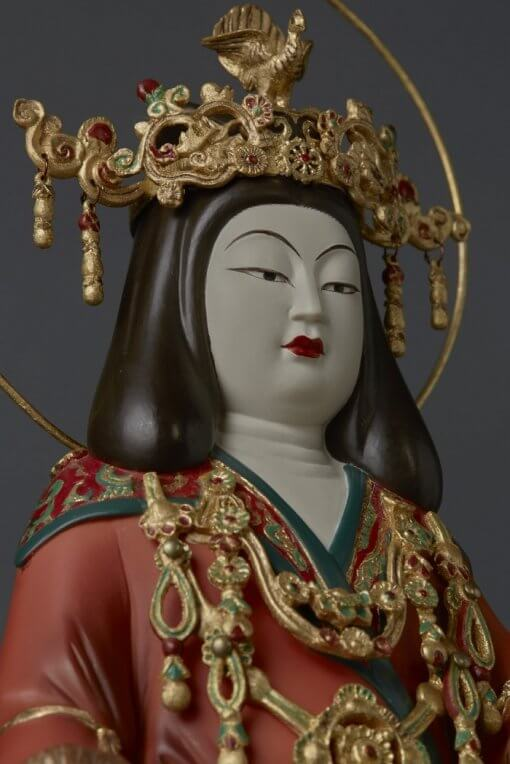 Buddha Statue for sale, Kisshoten in original coloring, zooming up to upper body and face