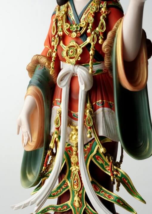 Buddha Statue for sale, Kisshoten in original coloring, details of vivid color clothing