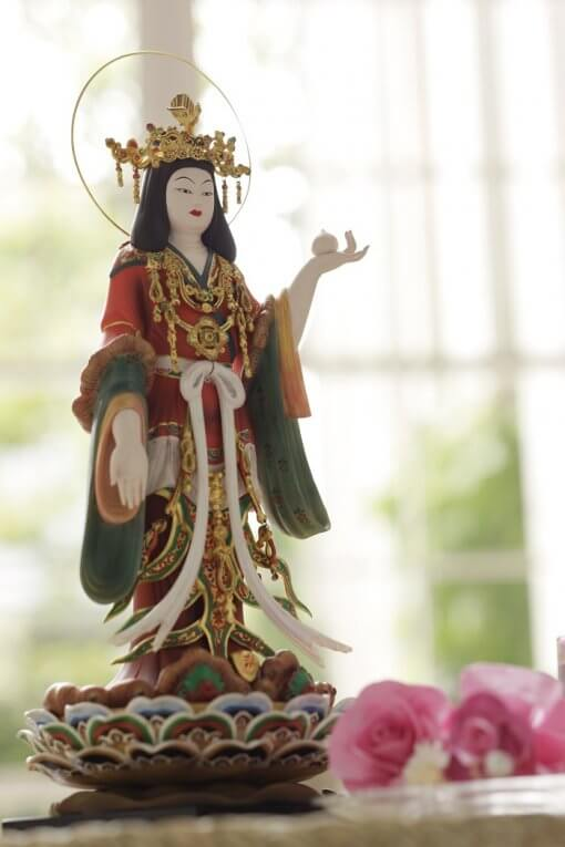 Buddha Statue for sale, Kisshoten in original coloring, an example as interior object
