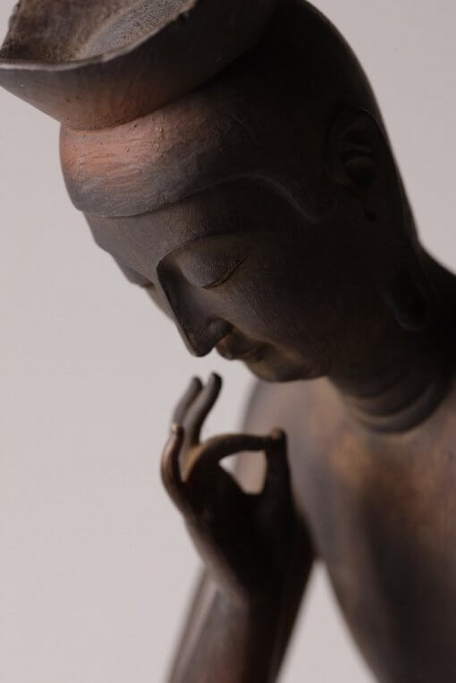 Buddha Statue for sale, Miroku Buddha, zooming up to finger gesture and face