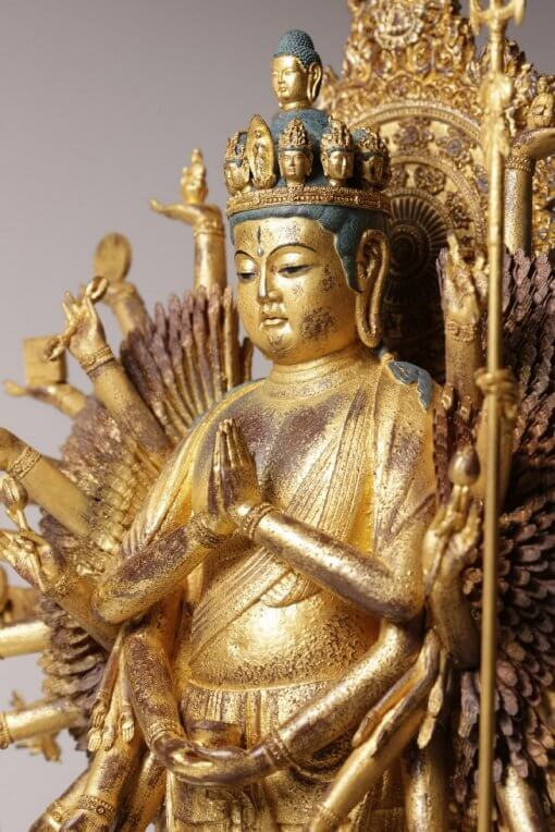Buddha Statue for sale, ultimate 1000-armed Kannon, zooming up to upper body