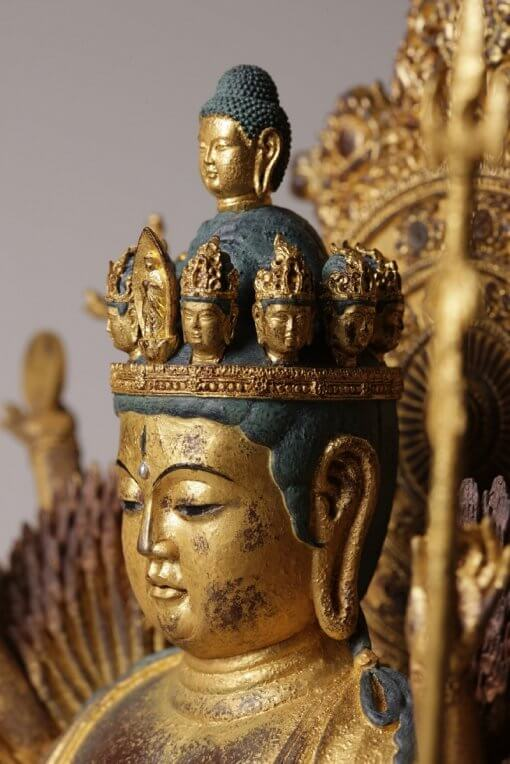 Buddha Statue for sale, ultimate 1000-armed Kannon, zooming up to face and crown decoration
