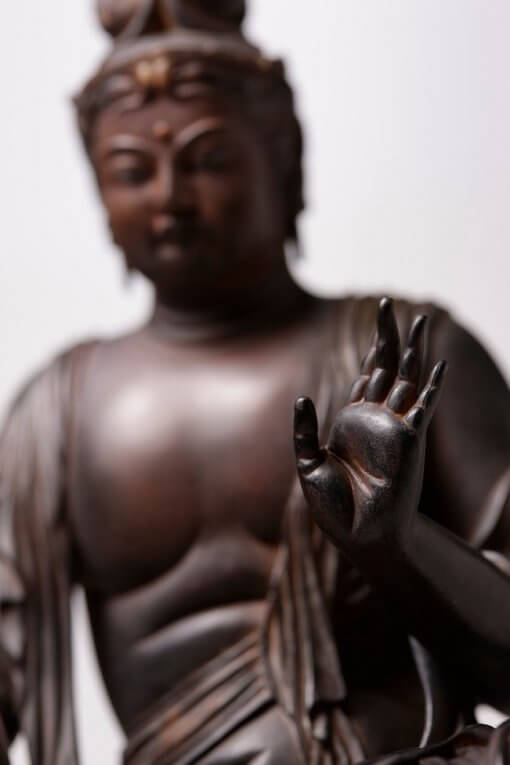 Buddha Statue for sale, Nyoirin Kannon Cintāmaṇicakra, zooming up to hand gesture of buddha