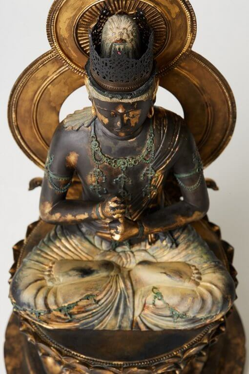 Buddha Statue for sale, Dainichi Nyorai, details from the top view