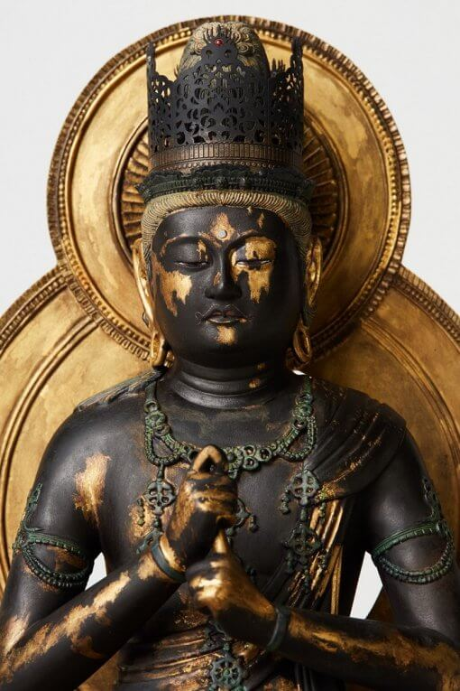 Buddha Statue for sale, Dainichi Nyorai, details of bust, face and the great sun behind the statue
