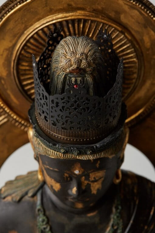 Buddha Statue for sale, Dainichi Nyorai, details of face and jeweled crown