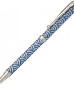 Handmade Ballpoint Pen made in Japan, Mino Washi Japanese paper series, premier quality, Nami pattern Blue
