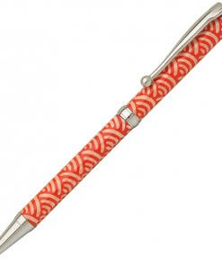 Handmade Ballpoint Pen made in Japan, Mino Washi Japanese paper series, premier quality, Nami pattern Red