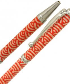 Handmade Ballpoint Pen made in Japan, Mino Washi Japanese paper series, premier quality, Nami pattern Red, details