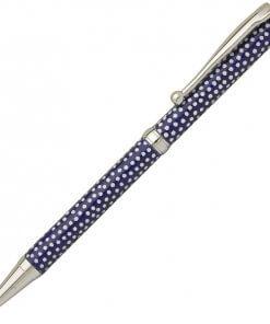 Handmade Ballpoint Pen made in Japan, Mino Washi Japanese paper series, premier quality, Komon pattern Blue