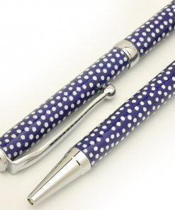 Handmade Ballpoint Pen made in Japan, Mino Washi Japanese paper series, premier quality, Komon pattern Blue, details