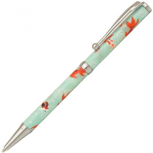 Handmade Ballpoint Pen made in Japan, Mino Washi Japanese paper series, premier quality, Kingyo pattern Blue